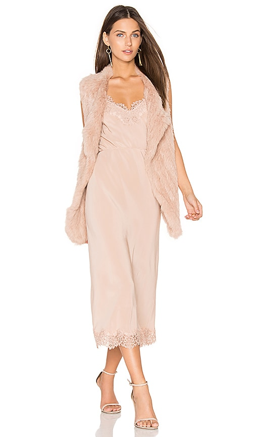 HEARTLOOM Michi Rabbit Fur Vest in Blush
