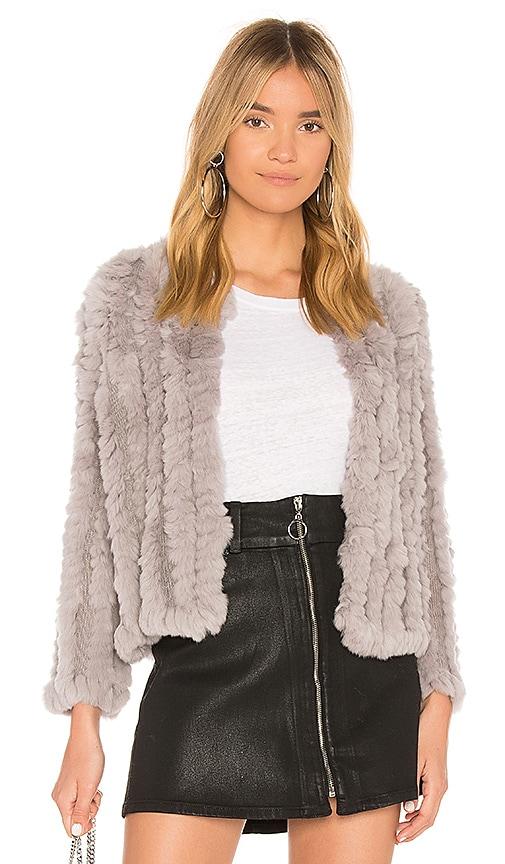 HEARTLOOM Rosa Dyed Rex Rabbit Fur Jacket in Lavender