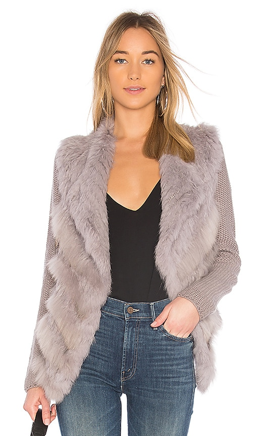 HEARTLOOM Mirae Jacket With Rabbit and Raccoon Fur in Lavender