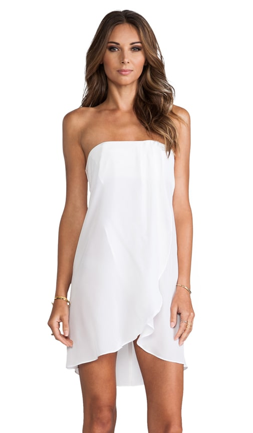 84bc7d2b3445 Helena Quinn Strapless Asymmetric Hem Dress in White | REVOLVE