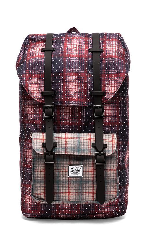 2ab8e20b5a13 Herschel Supply Co. Little America Backpack in Rust Plaid Polka Dot ...