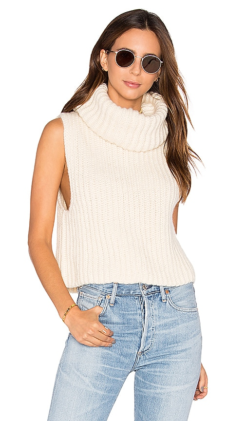 HELFRICH Zoe Sleeveless Turtleneck Sweater in Beige