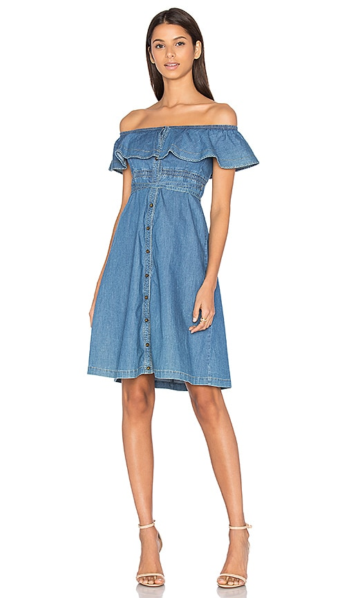 Hilfiger Collection Chambray Short Sleeve Midi Dress in Chambray