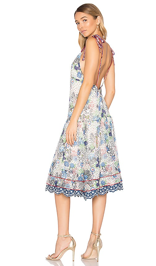 Hilfiger Collection Cactus Print Midi Slip Dress in White