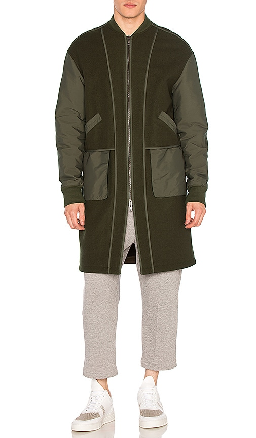 Helmut Lang Oversized Bomber Coat in Army