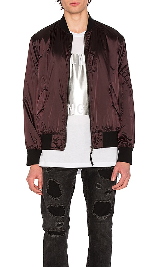 Helmut Lang Reflective Nylon Bomber in Black