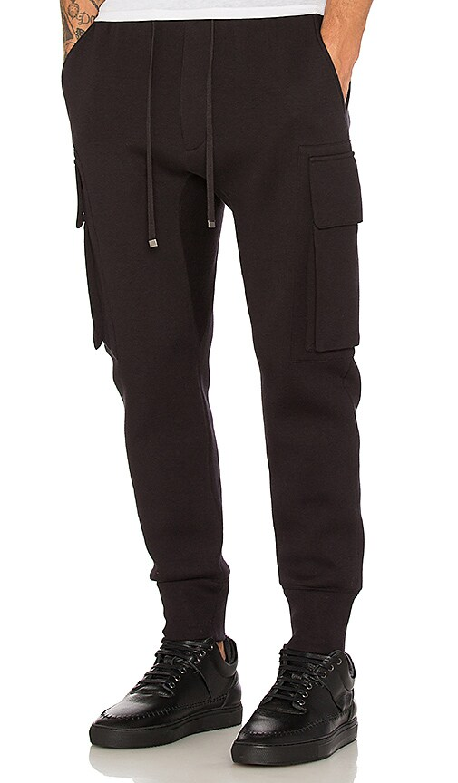 Helmut Lang Curved Leg Cargo Track Pant in Black