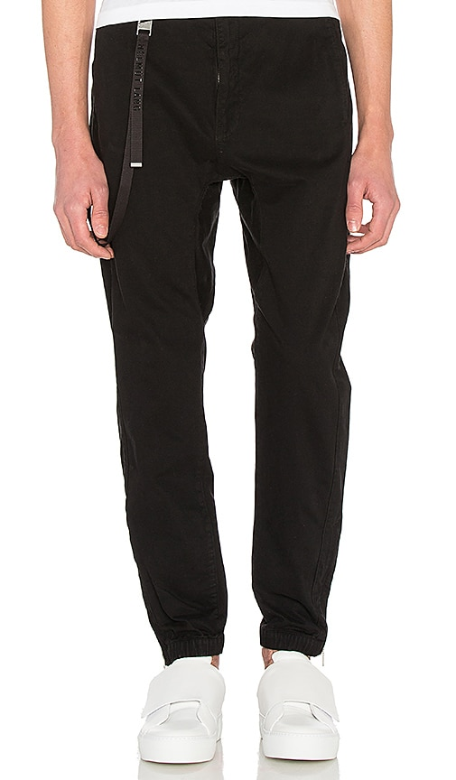 Helmut Lang Curved Leg Track Pant Chino in Black