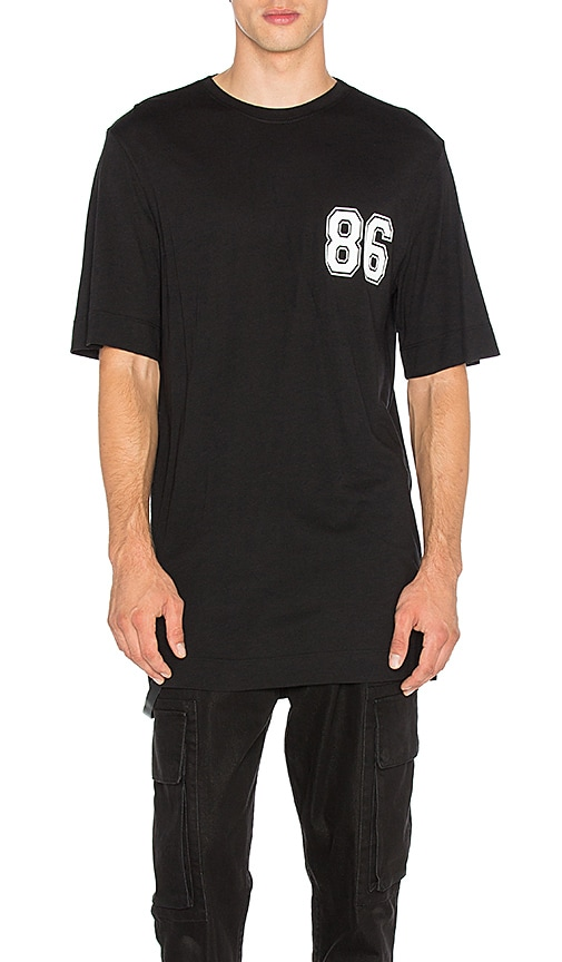 Helmut Lang Oversized Varsity Tee in Black & White