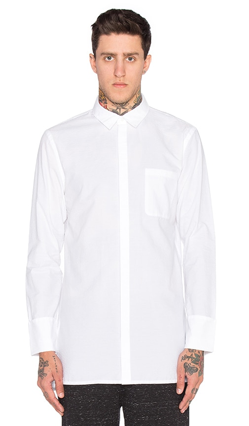 Helmut Lang Folded Cuff Shirt in White