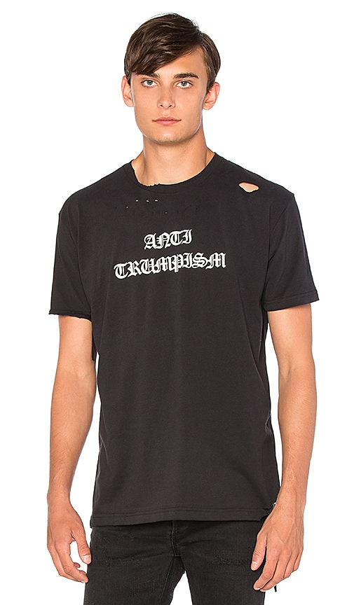 Homme Boy Anti-Trumpism Distressed Tee in Black