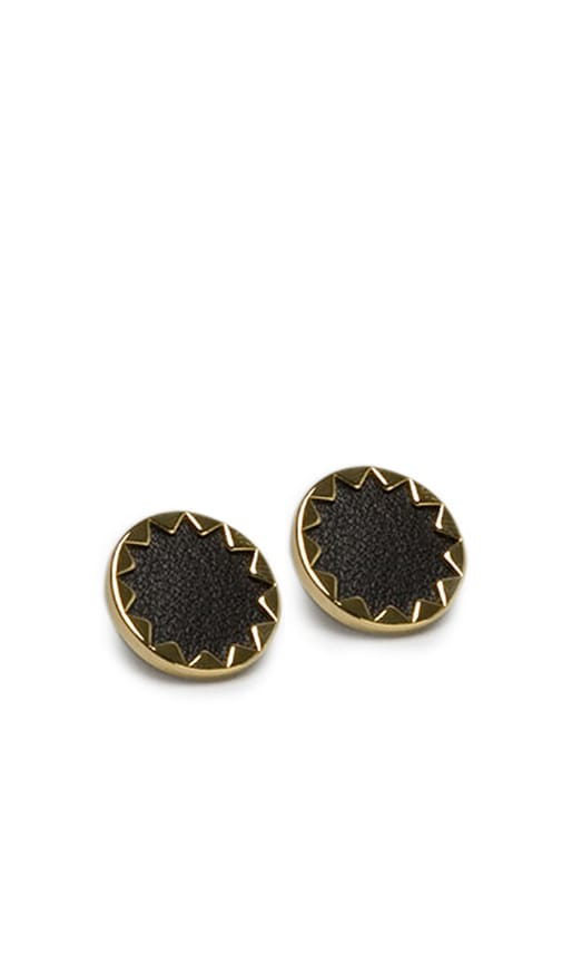 House of Harlow Sunburst Button Earrings with Black Leather