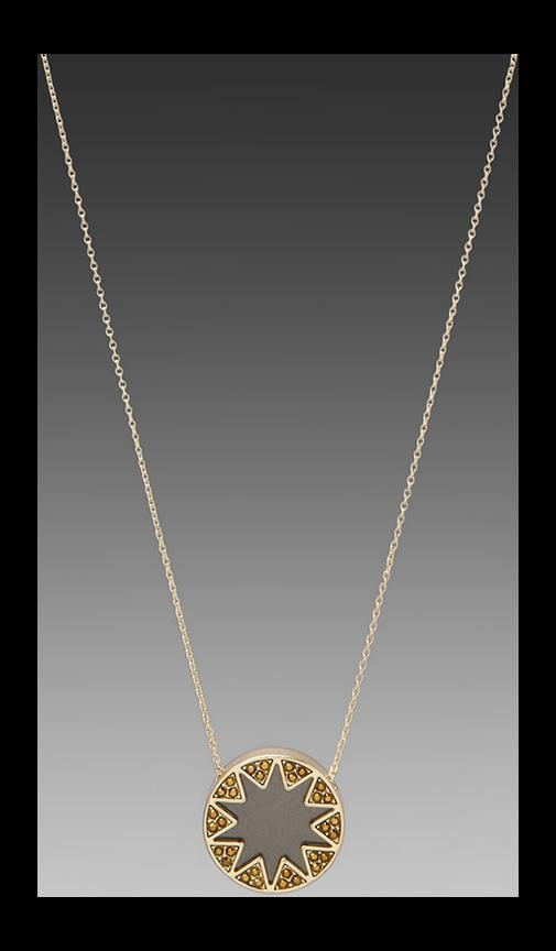 House of Harlow Earth Metal Sunburst Station Necklace