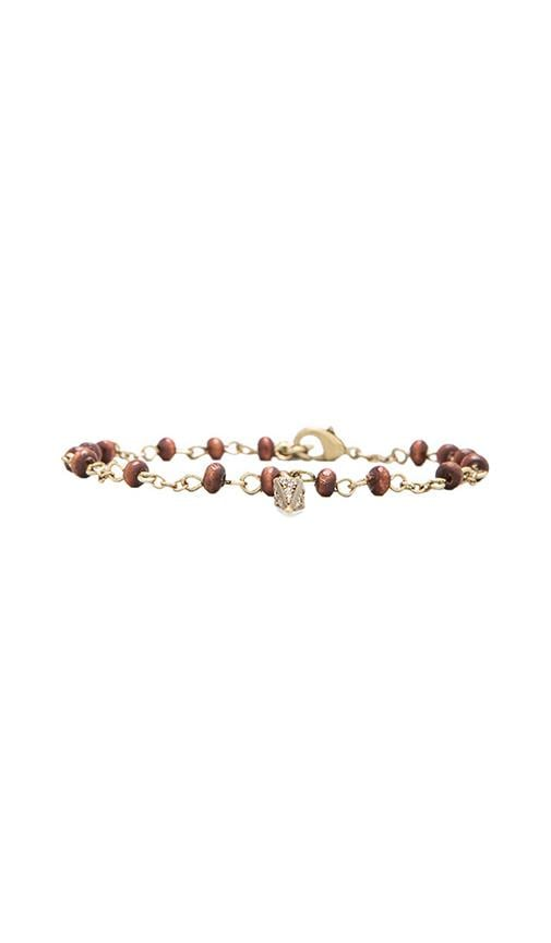 House of Harlow Wooden Kharma Bead Bracelet
