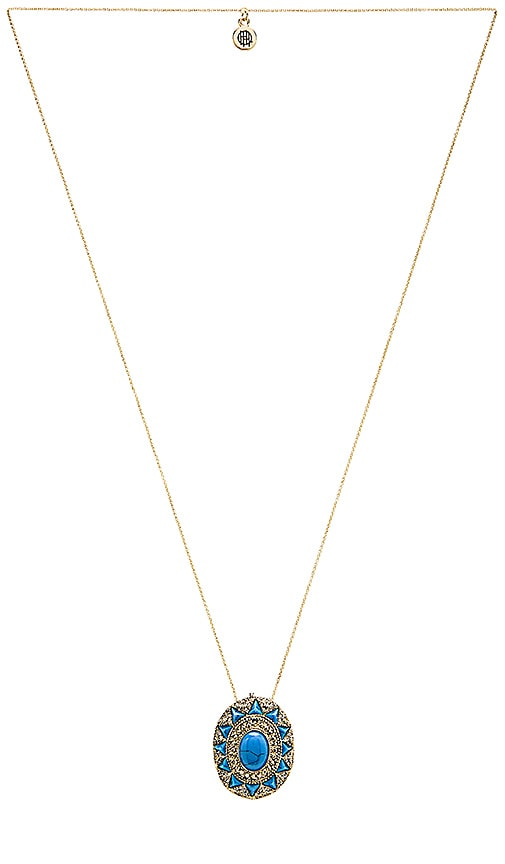 House of Harlow Wari Ruins Pendant Necklace in Gold & Turquoise