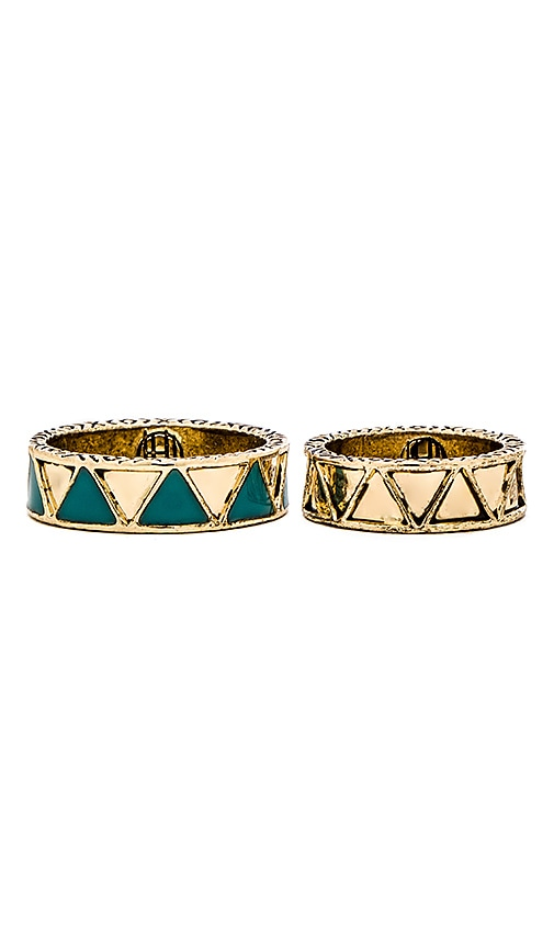 House of Harlow Peak To Peak Ring Set in Metallic Gold