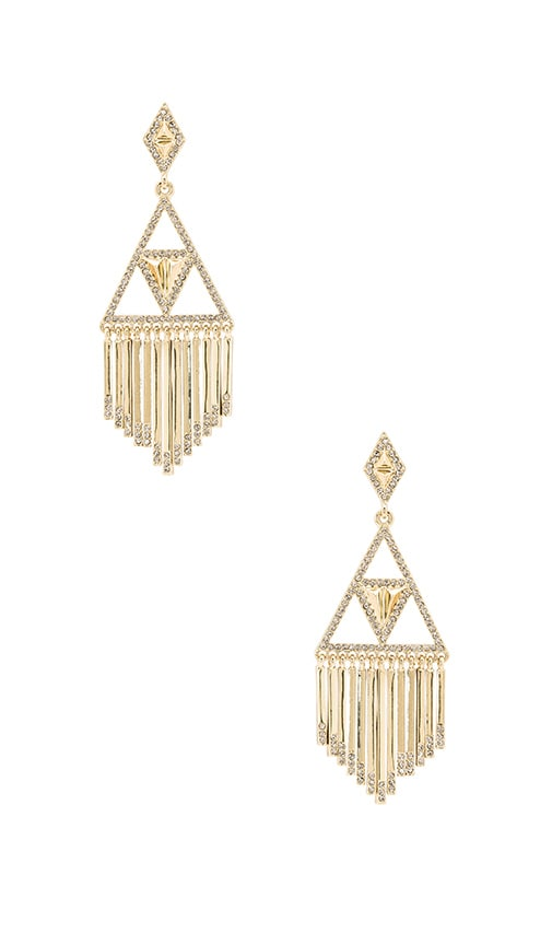 House of Harlow 1960 Golden Hour Fringe Earring in Metallic Gold