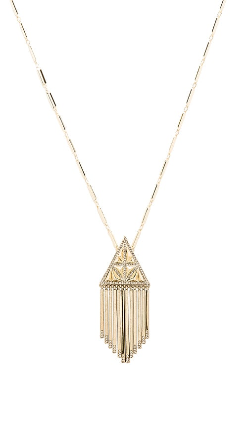 House of Harlow Golden Hour Fringe Pendant Necklace in Metallic Gold