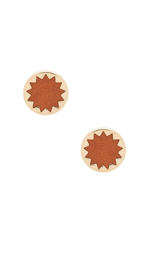 House of Harlow Engraved Sunburst Stud Earrings in Metallic Gold