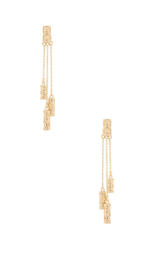 House of Harlow 1960 Iconic Etch Drop Earrings in Metallic Gold