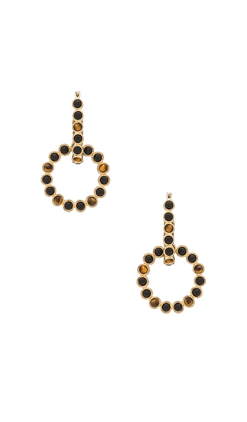 House of Harlow 1960 The Vivianne Day To Night Earrings in Gold & Tiger's Eye