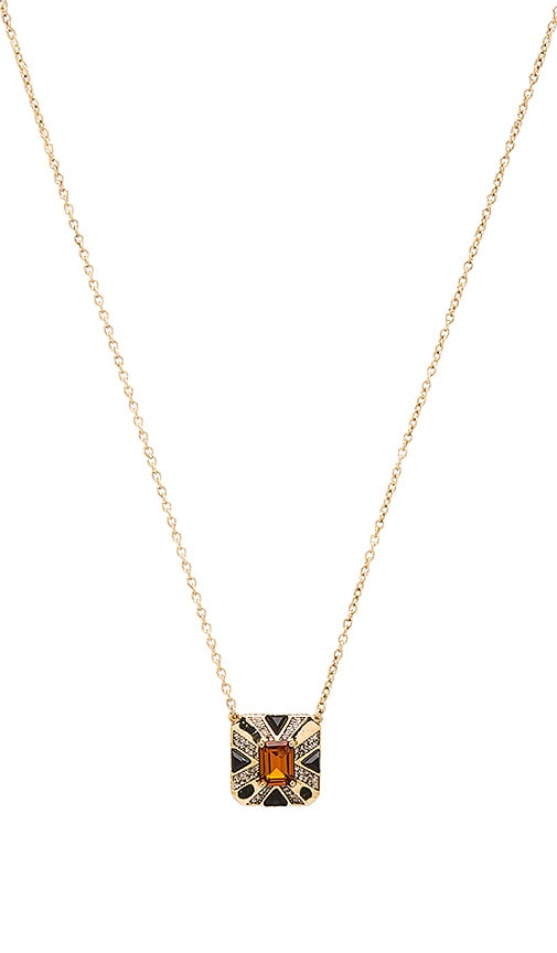 House of Harlow Art Deco Pendant Necklace in Metallic Gold