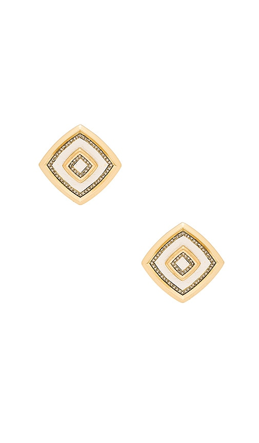 House of Harlow Lady of the Lake Button Earring in Metallic Gold