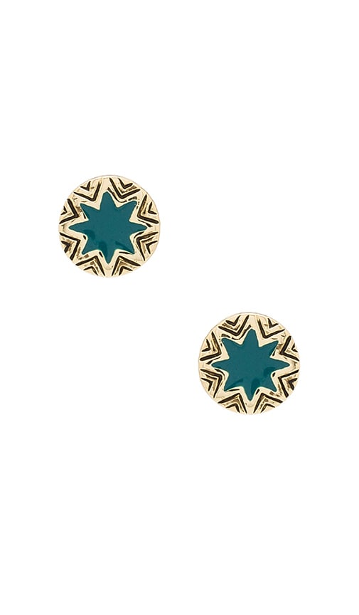 House of Harlow Engraved Sunburst Stud in Metallic Gold