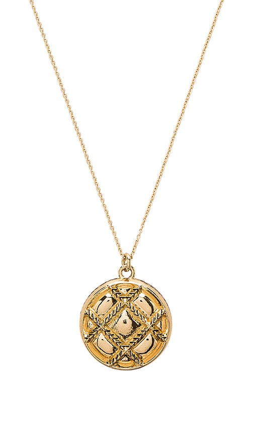 House of Harlow 1960 Phoebe Quilted Pendant Necklace in Metallic Gold