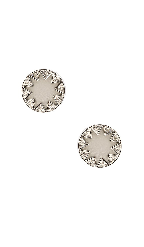 House of Harlow 1960 Pave Sunburst Earrings in Metallic Silver