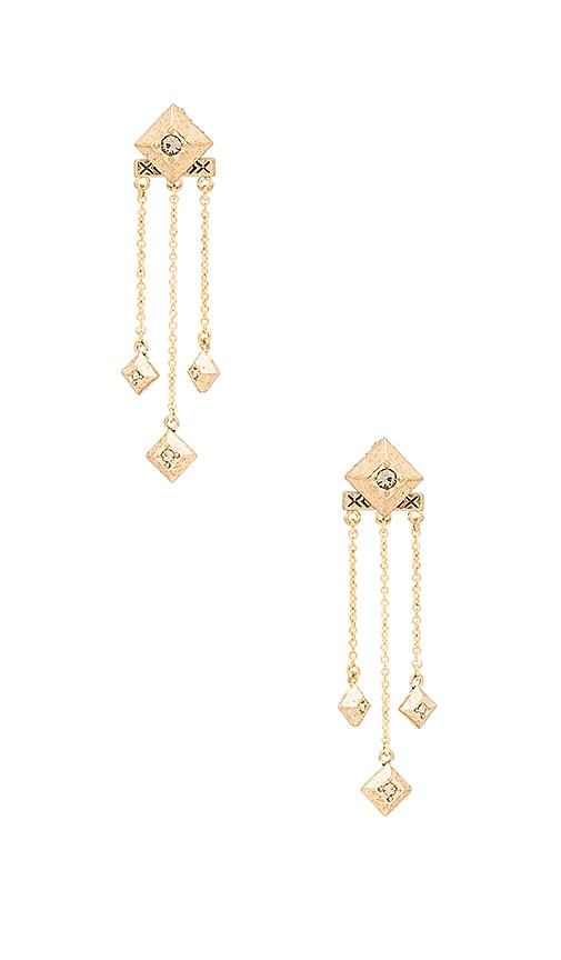 House of Harlow 1960 The Lyra Dangle Earrings in Metallic Gold