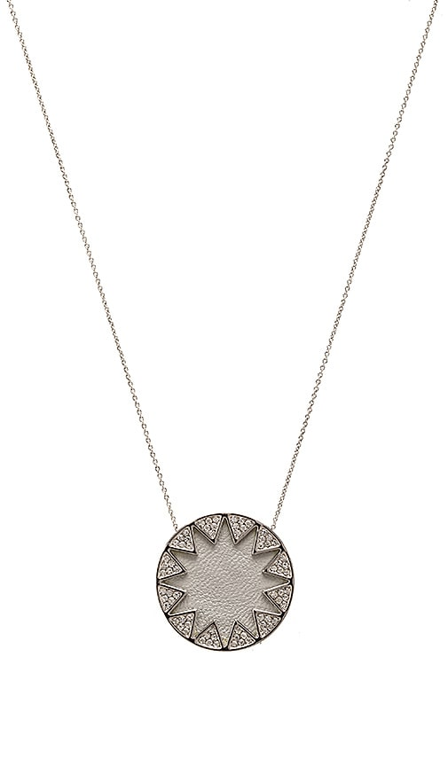 House of Harlow 1960 Pave Sunburst Necklace in Metallic Silver