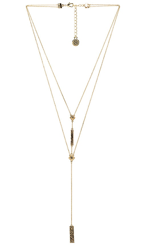 House of Harlow 1960 The Lyra Double Y Necklace in Metallic Gold