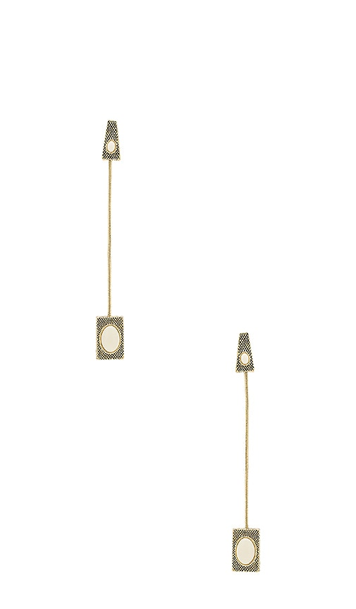 House of Harlow 1960 Tanta Crosshatch Drop Earrings in Metallic Gold