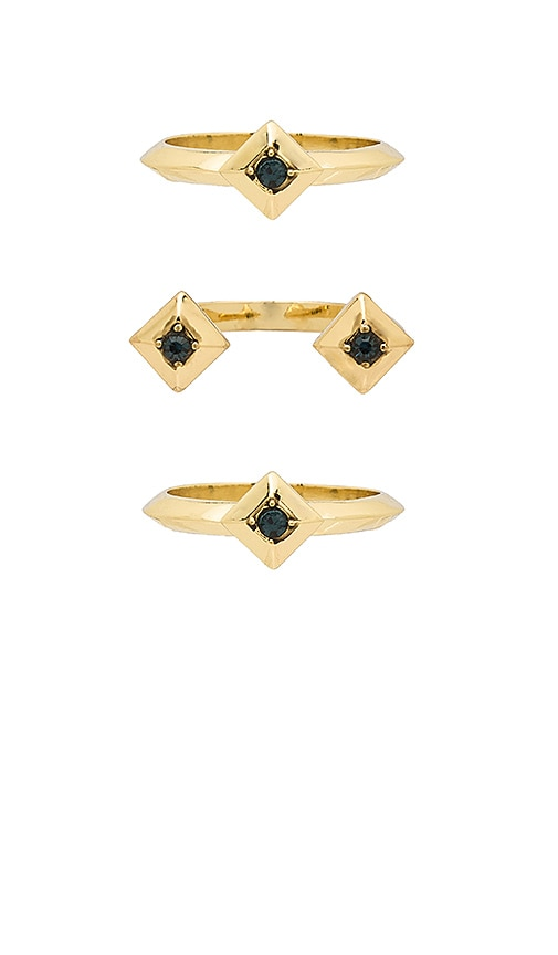 House of Harlow 1960 The Lyra Ring Set in Metallic Gold