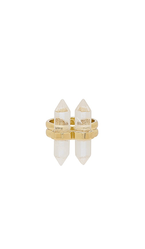 House of Harlow 1960 Double Crystal Ring in Metallic Gold