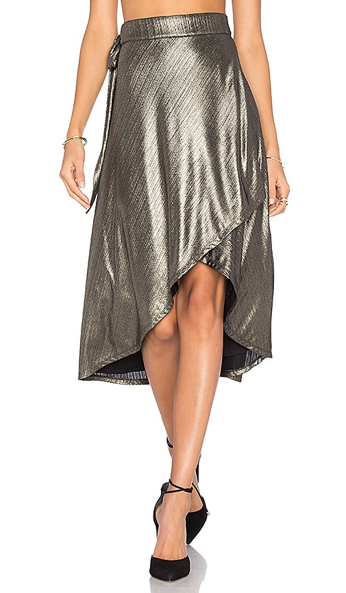 House of Harlow 1960 x REVOLVE Maya Wrap Skirt in Metallic Gold