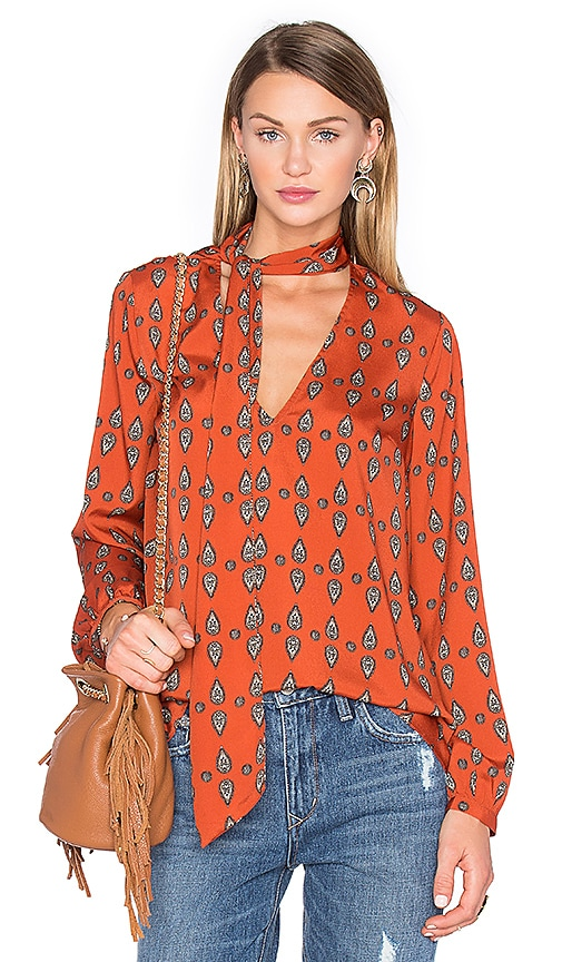 House of Harlow 1960 x REVOLVE Naomi Tie Neck Blouse in Rust