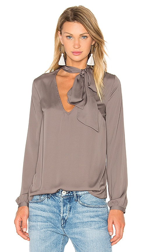 House of Harlow 1960 x REVOLVE Naomi Tie Neck Blouse in Gray
