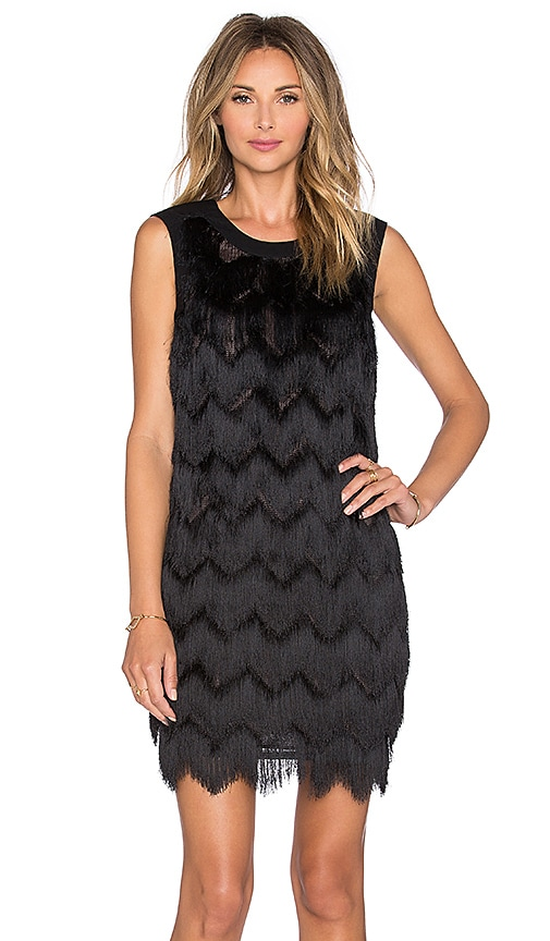 Hoss Intropia Fringe Mini Dress in Black