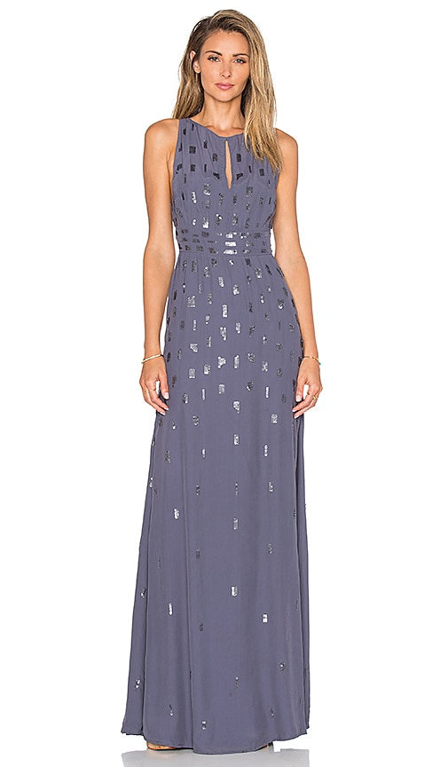 Hoss Intropia Foil Detail Maxi Dress in Gray