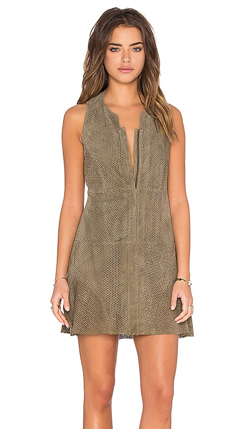 Hoss Intropia Front Zipper Dress in Taupe