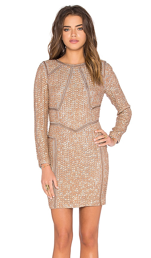 Hoss Intropia Embellished Shift Dress in Beige