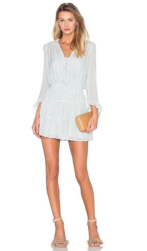 Hoss Intropia Long Sleeve V Neck Mini Dress in Water Green