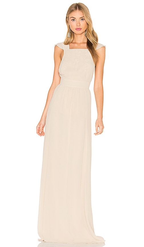 Hoss Intropia Sleeveless Square Neck Maxi Dress in Beige