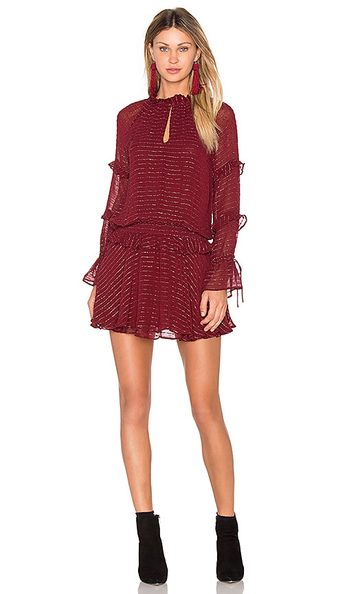 Hoss Intropia Long Sleeve Mini Dress in Burgundy