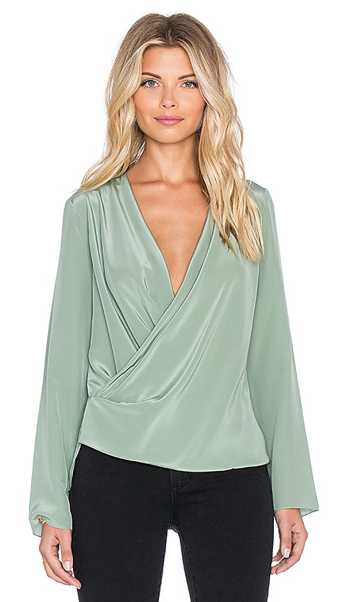 Hoss Intropia Surplice Blouse in Aloe