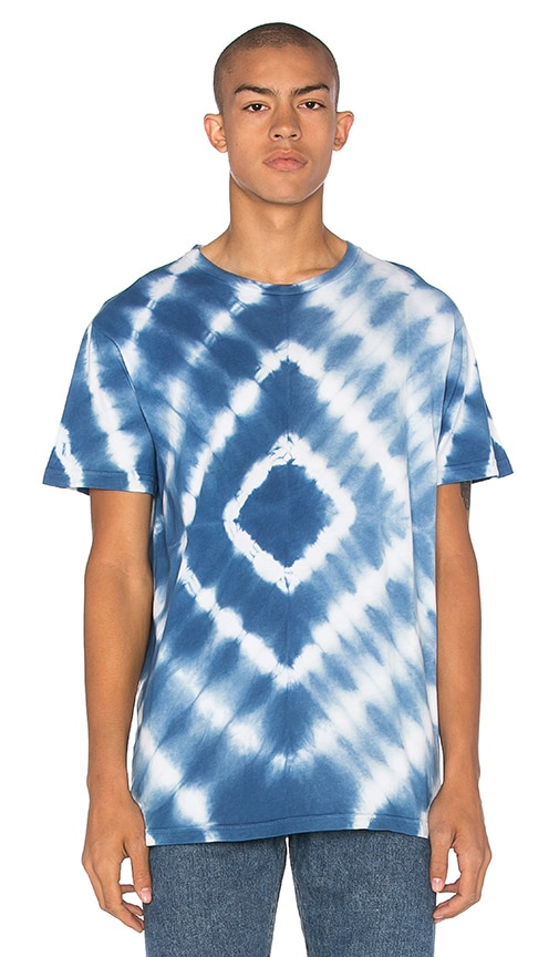 The Hill-Side Hand Dyed Murakumo Shibori Tee in Blue