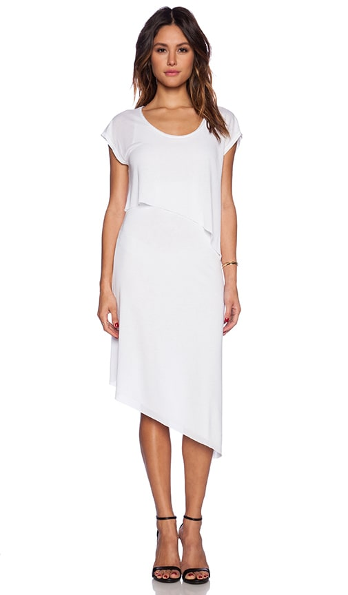 Heather Asymmetrical Tier Dress in White