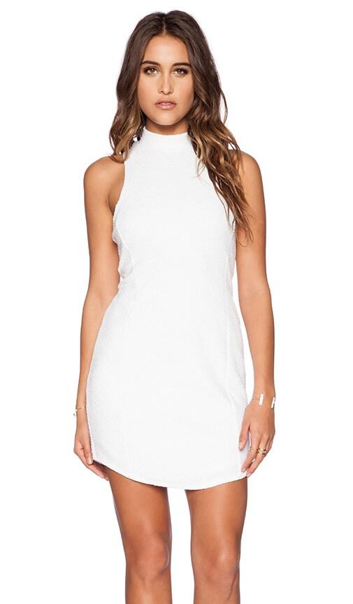 Heather Bubble Knit Zip Back Dress in White